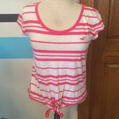 🎉 Hollister Striped Tee Shirt Tie Pink White Crop Hollister striped tee shirt, scoop neck, looser fit, tie detail, size XS, pink & white, Only worn once, in very good condition. Hollister Tops Blouses