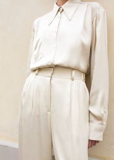#newarrivals #ivory #silky #blouse #pj #pajama #set #thefrankieshop #frankiegirl #frankienyc Pointed Collar Ivory Silky Blouse – The Frankie Shop