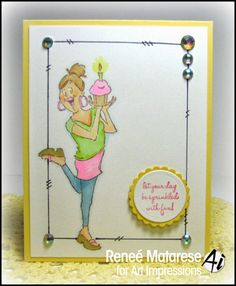 Art Impressions Rubber Stamps: Cupcake BFF Birthday Wishes by Reneé Matarese