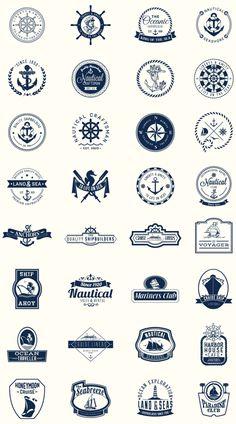 Excelente paquete de escudos náuticos perfectos para diseñar logos para servicios, productos o empresascon actividades relacionadas con el mar, la pesca o