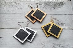 Handmade geometric leather earrings. Square by VelmaJewelry