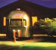 "Boyd Gavin, ""Trailer at Night"", oil on canvas Henrik Uldalen, Night Scenes, Impressionist Paintings, Moon Art, Airstream, Artist Painting, Art Oil, Oil On Canvas, Cozy"