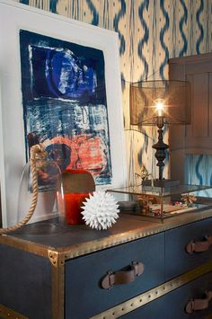 blue and gray boys bedroom with vintage-inspired dresser // Shelley & Co