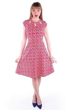 Keyhole Cutout Dress - Red