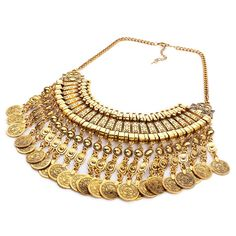 Solememo Women's Engraved Coin Pendant Dangling Tribal Chain Necklace Antique Gold