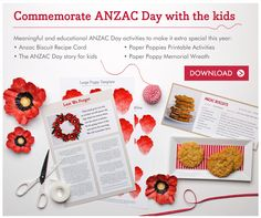 Celebrate Anzac Day with meaningful and educational activities using our free Anzac Day Printables. Great craft activity for kids to learn about Anzac Day. Craft Activities For Kids, Crafts For Kids, Educational Activities, Elderly Activities, Craft Ideas, Preschool Ideas, Poppy Template, Anzac Biscuits, Australia Day