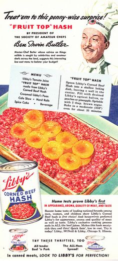 Family Circle, April 1949-Fruit Top Hash, complete with hatched amphibious alien pods on top!!