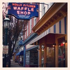 """""""The Molly Pitcher Waffle Shop"""" ~ Chambersburg, Pennsylvania.  I used to love their Chicken and Waffles.  Yum!"""