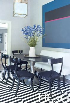 Black Lacquer Klismos Chairs And A Fitzgerald Bench From Williams Sonoma  Home Surround A