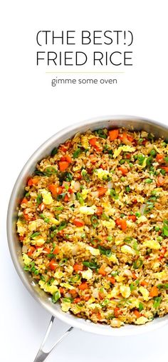 The BEST homemade fried rice recipe! It only takes 15 minutes to make, it's easy to customize with your favorite add-ins (like chicken, pork, beef, shrimp Quinoa Fried Rice, Fried Rice With Egg, Making Fried Rice, Pork Fried Rice Easy, Vegetable Fried Rice, Vegetarian Fried Rice, Quinoa Stir Fry, Cauli Rice, Fried Rice With Chicken