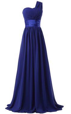 Blue One Shoulder Chiffon Floor Length A Line One Shoulder Sleeveless Long Prom Dress