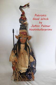 Patriotic Good Witch www.facebook.com/HootnhollarprimsByJoannPalmer