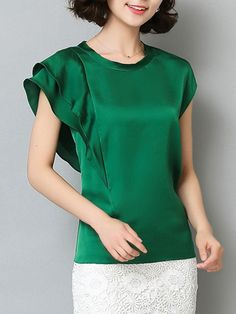 Fashionmia - Fashionmia Round Neck Plain Blouse With Ruffle Sleeve - AdoreWe.com