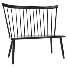 Colt Settee Bench from O&G Ebony Stain on Ash American Modern Windsor 1