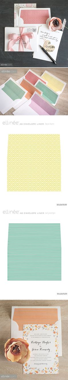 free printable Stripe & Heart patterned Envelope Liners - from ellinée