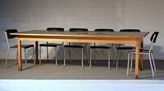 Konferenztisch/ Esstisch Ferdinand Kramer um 1960.  Standardised Table designed 1925 produced in the 60s. L250 x B100 x H78 cm ashwood, chipboard, black resopal.