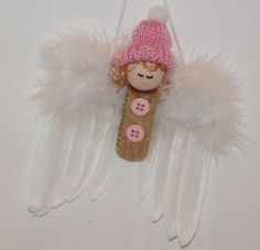 Snow Angel Pink Ornament Recycle Wine Cork Or by WineTimeAnytime Wine Cork Ornaments, Red Ornaments, Christmas Ornaments, Spool Crafts, Cork Crafts, Cork Garland, Recycled Wine Corks, Pink Snow, Angel Crafts