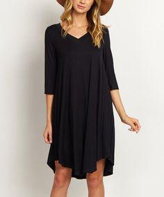 Look at this #zulilyfind! Black V-Neck Dress #zulilyfinds