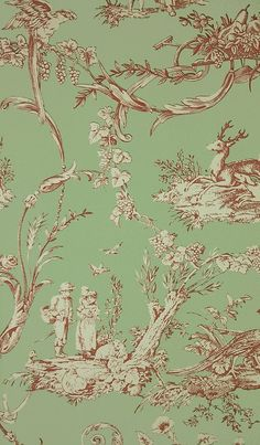 Paysannerie Toile Wallpaper from Thibaut. A scenic toile wallpaper with farm workers, pheasants, stags and dogs amongst swirling foliage in red on green.