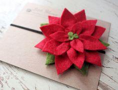 Christmas Flower Headband - Wool Felt Poinsettia - baby - toddler- child - adult. $12.00, via Etsy.