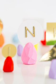 You can make a faceted Easter egg place card holder for your Easter brunch with this DIY tutorial.