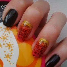 DIY stamping nailart, black, ombre yellow & orange & red