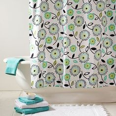 "love this. Pottery Barn teen on ""sale"" for $47.99 Dandy dot Organic Shower Curtain"