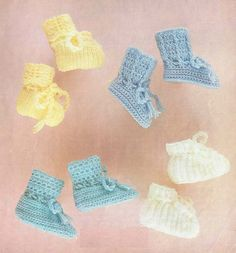 baby bootees vintage knitting and crochet pattern by Ellisadine