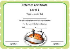 basketball referee certificate
