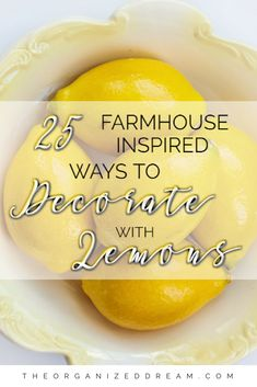 25 Farmhouse Inspired Ways To Decorate with Lemons. Great decor inspirations for. 25 Farmhouse Inspired Ways To Decorate with Lemons. Great decor inspirations for Summer! Lemon Kitchen Decor, Farmhouse Kitchen Decor, Kitchen Ideas, Yellow Kitchen Decor, Farmhouse Style, Rustic Farmhouse, Kitchen Decor Themes, Red Kitchen, Farmhouse Furniture