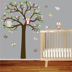 Vinyl wall decal tree with patterned leaves owls by wallartdesign, $99.00