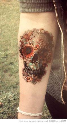 Cool Skull Flowers Tattoo