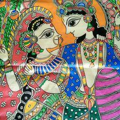 Kerala Mural Painting, Krishna Painting, Indian Art Paintings, Madhubani Painting, Madhubani Art, Indian Folk Art, Mandala Design, Design Art, Canvas