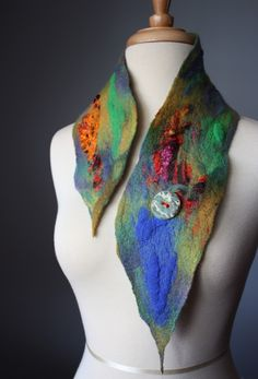 ELF Hand felted Avant-garde art scarf / neckwarmer / collar in Orange Purple Green OOAK unique handmade ceramic button Needle Felted, Nuno Felting, Nuno Felt Scarf, Felted Scarf, Felted Bags, Felted Wool, Colar Fashion, Textile Fiber Art, Wool Art
