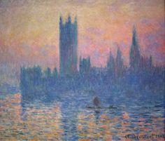 El parlamento de Londres: Otra de las inumerables series de Monet. Juega con los reflejos del agua. Y llama la atención como fusiona los colores. Cómo cuida los reflejos y cómo capta el movimiento. Utiliza una pincelada gruesa. Se consigue distinguir a duras penas el horizonte. EL color es el protagonista del cuadro. Y la representación de la niebla con el agua que refleja la bruma matinal. La pincelada deshace la forma del parlamento.