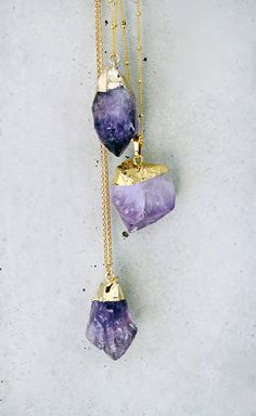 raw amethyst necklace.