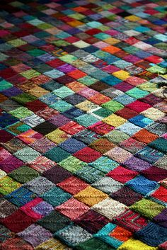 all of my yarn remnants = a blanket like this!