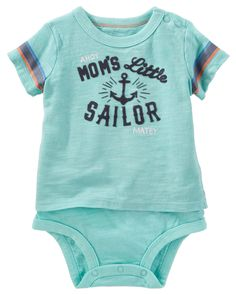 Baby Boy Flocked Double-Decker Bodysuit. Built like a bodysuit but styled like a tee, this one's perfect for mom's little sailor.
