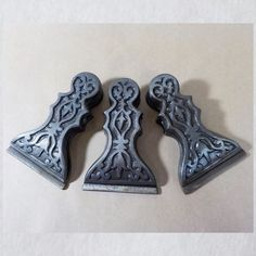 3 Paper clamp clip holder metal iron decoration desktop or wall gothique look