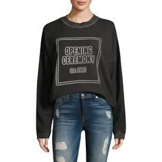 Opening Ceremony Cozy Stencil Cotton Sweatshirt (3.865 ARS) ❤ liked on Polyvore featuring tops, hoodies, sweatshirts, cotton pullover sweatshirt, opening ceremony sweatshirt, sweater pullover, drop shoulder tops and print top