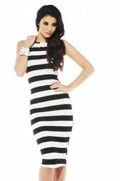 BW Stripe Midi Dress at shopmodmint.com...love the length