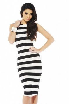 BW Stripe Midi Dress at shopmodmint.com...love the length