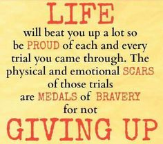 for not giving up...