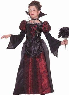 Girls Vampire Medieval Dress Kids Halloween Costume