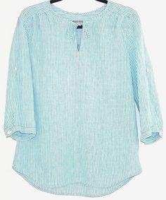 J. Jill Shirt Striped Linen Roll Tab Sleeve Blue White Tunic Peasant Blouse M #JJill #Tunic #Casual