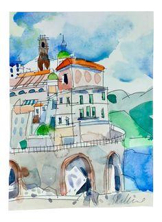 'Cinque Terra' Watercolor Painting on Chairish.com