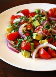 Tomato, Basil and Avocado Salad Recipe. With no onions...