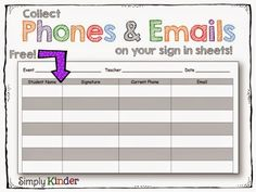 Conferences are this week so here's a few things I do to keep sane. Includes a free sign-in sheet where you collect phone numbers and emails (so you always have a current list!) #SimplyKinder