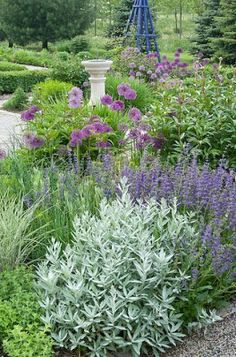 Country Gardener: Luscious early June Beautiful purple English garden design with fountain and obelisk Plants, Cottage Garden, Country Gardening, Purple Garden, Gorgeous Gardens, Outdoor Gardens, Garden Borders, Beautiful Gardens, Colorful Garden