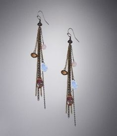 EXPRESS: Bead and Fringe Dangling Earrings [Topaz] $26.90